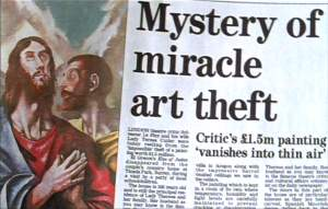 The newspaper headline about the theft.